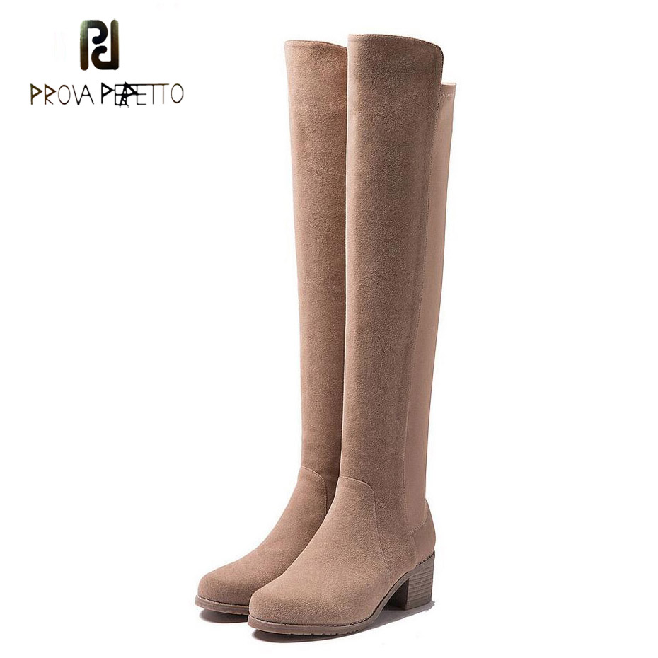 Prova Perfetto new arrival round toe square heel over knee boots women genuine leather patchwork chic long boots mujer zapatosProva Perfetto new arrival round toe square heel over knee boots women genuine leather patchwork chic long boots mujer zapatos