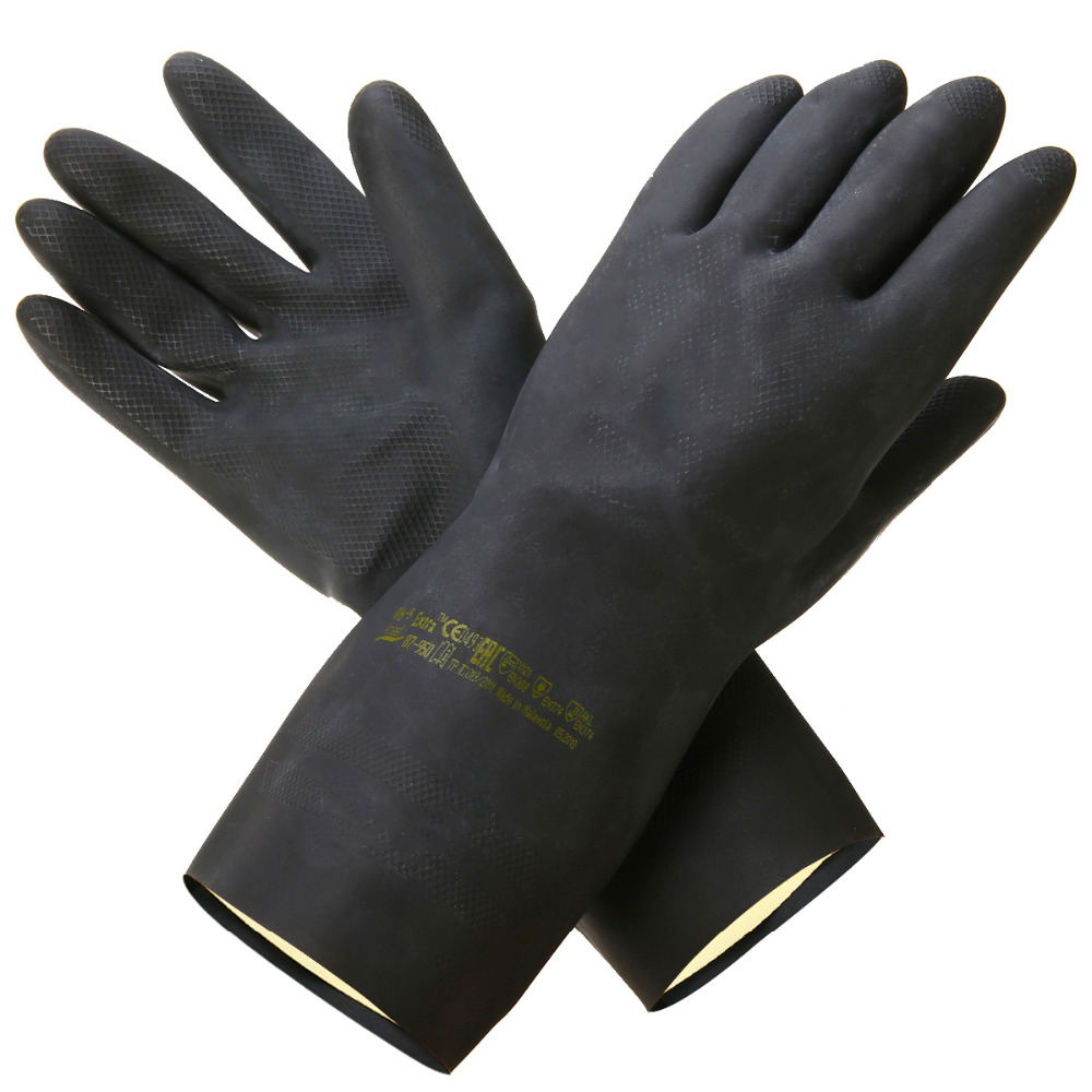 Heavy Duty Natural Rubber Garden Gloves Acid Alkali Resistant Chemical Gauntlet Gardening Protective Gloves For Garden Tools