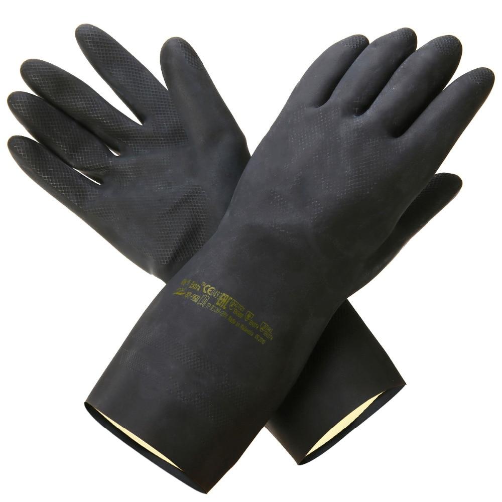 Heavy Duty Natural Rubber Garden Gloves Acid Alkali Resistant Chemical Gauntlet Gardening Protective Gloves For Garden Tools