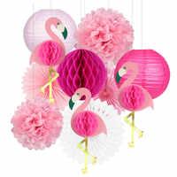 Тропический Розовый фламинго вечерние вафельная ткань декоративная ткань бумажный веер в виде цветка Бумага фонари для Гавайский Летний п...