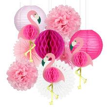 Lanternes tropicales à thème de flamand rose, décoration, de nid d'abeille, en carton, de fleurs en éventail, en papier, pour fête du luau hawaïen, pour l'été