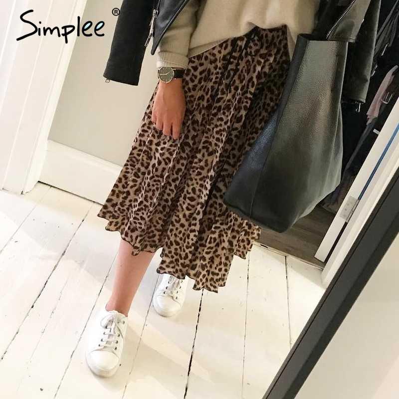 Simplee VINTAGE Leopard พิมพ์กระโปรงจีบผู้หญิง Punk ROCK เกาหลีกระโปรง streetwear Drawstring ยืดหยุ่นเอวสุภาพสตรีกระโปรง Midi กระโปรง