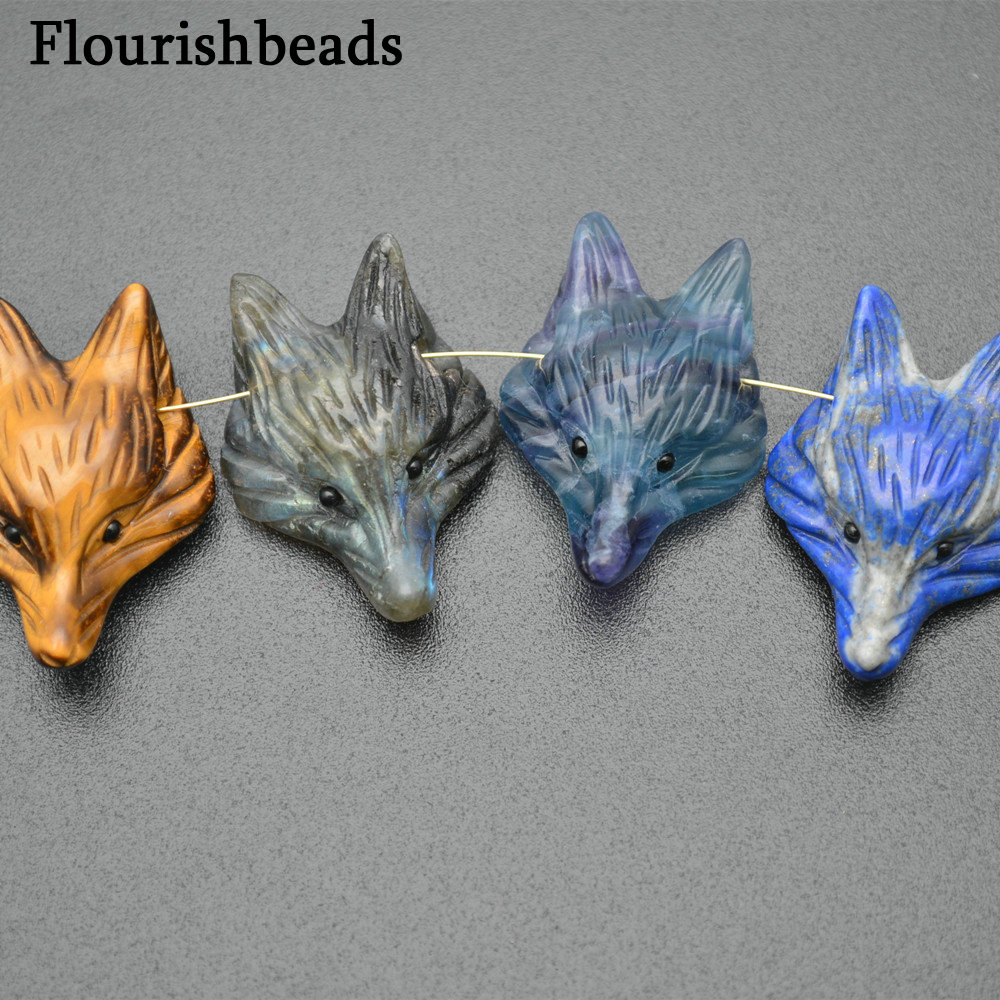 New Arrival Natural Stone Carved Cute Fox Pendants Man Woman Jewelry Gift
