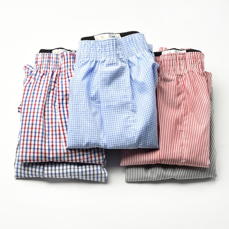 5pcs/lot 6XL Plus Size Male Underwear Plaid Underpants Man Woven Boxer Men Cotton Mens Boxers Breathable Family Panties Shorts