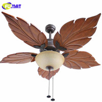 FUMAT Ceiling Fan Lights Decorative Fans Brief Retro Indoor Ceiling Light Living Room Chinese Style Maple Ceiling Fan Lamps