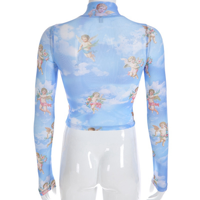 girl angel print short T-shirt sexy navel shirt half-high collar mesh long-sleeved T-shirt 2019 see through angel shirt