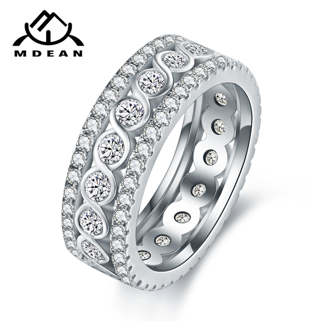 MDEAN White Gold Color Round Rings for Women Engagement Wedding Clear AAA Zircon Jewelry Bague Bijoux Size 6 7 8 9 10 H517 3