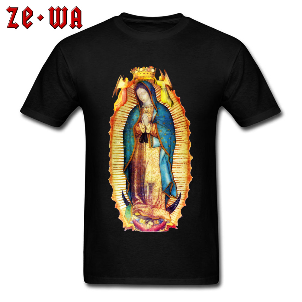T-shirt Men Cotton T Shirt High Quality Tshirts Our Lady Of Guadalupe Virgin Mary Mexico Mexican Streetwear Black Clothes Unique