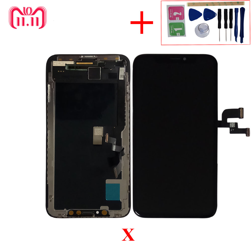 GX OLED For iPhone X LCD Display AMOLED OEM Touch Screen Digitizer Replacement Assembly Parts With frame+LCD box+X Repair Tools