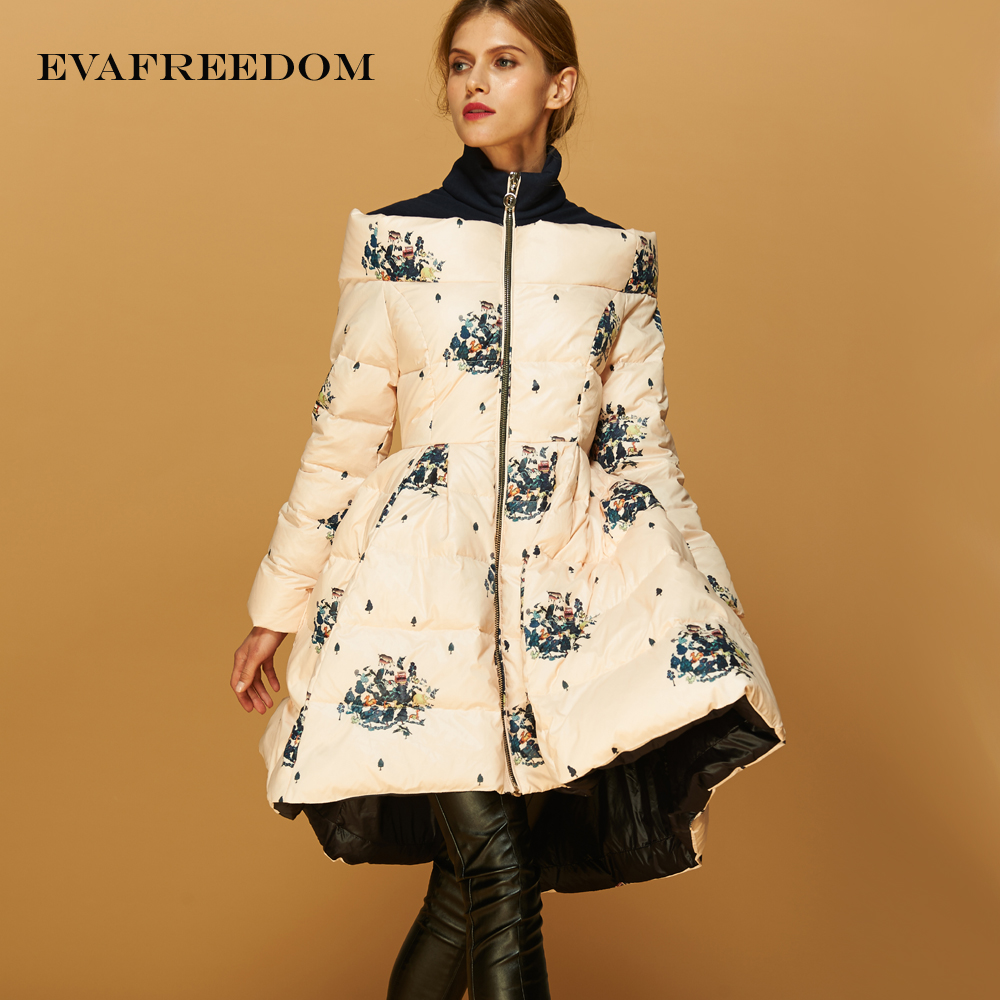 2016 Winter jacket Women down jackets Women's Outwear Flower print down coat parkas woman downs coats duck down flower худи print bar hypster flower