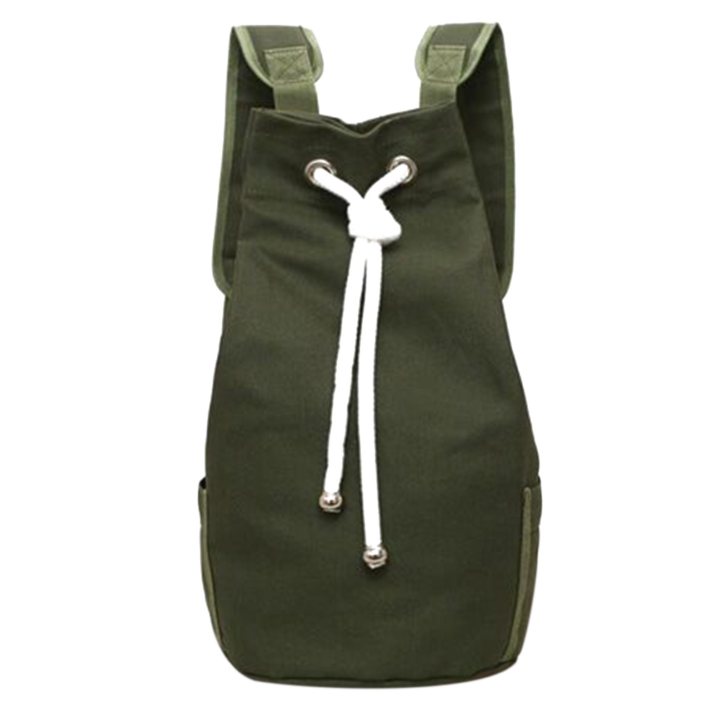 цена на Casual Men Canvas Large Capacity Barrel Backpack Fashion Simple Travel Rucksack Army Green Back Pack Teenager School Bag