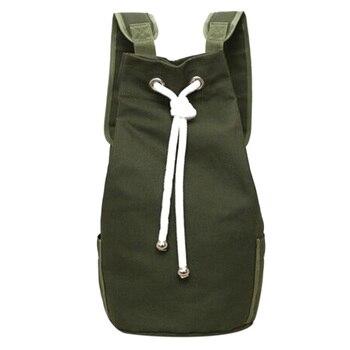 Casual de lona de los hombres de gran capacidad barril Mochila de moda Simple de viaje Mochila verde del ejército Mochila adolescente bolsa de la escuela Mochila