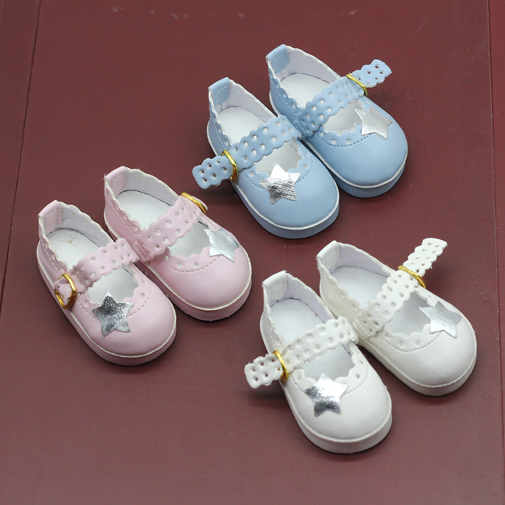 NEW 6.5cm Mini White Star Casual Shoes Fits Dolls Fits 1/4 BJD Dolls And 40cm Salon Dolls Accessories