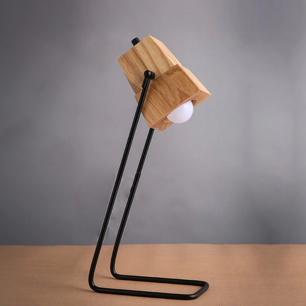 Brief Wooden Desk Lamp Modern Table Light Iron Holder With ... for Modern Wooden Desk Lamps  56mzq