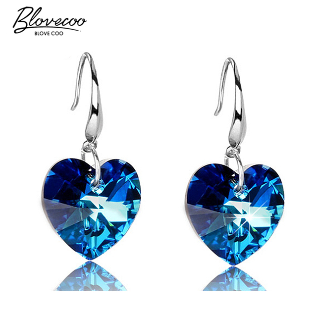 Silver Earrings For Women Long Section Of A Large Heart Shaped Blue Crystal High