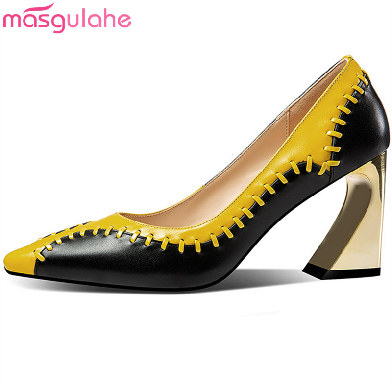 Masgulahe Shoes Woman Pointed-Toe High-Heels Big-Size Genuine-Leather Fashion New Autumn