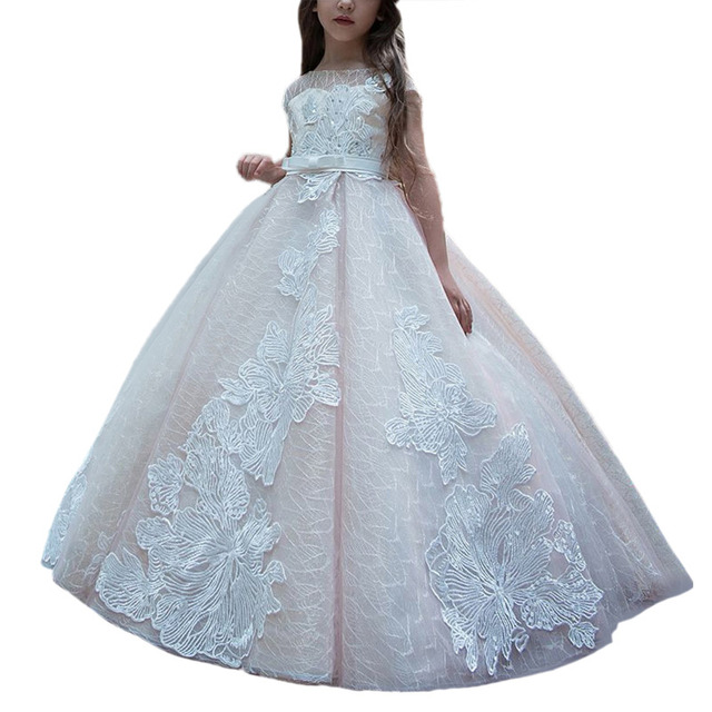 944cd0b002 princess little girls dresses with train kids pageant ball gown dress robe  fille enfant mariage de soiree long dresses for girls