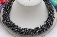 HOT N322 8row black baroque Freshwater cultured pearl necklace