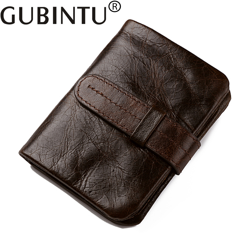 Gubintu Vintage Document Passport Luxury Fashion Men Genuine Leather Wallet Male Purse Small Perse Walet Money Bag Cuzdan Vallet