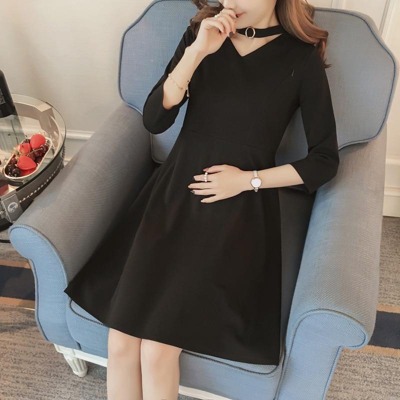 2018 fashion maternity dresses new feeding dress female slim Hepburn little black solid pregnant women dress pregnancy clothes
