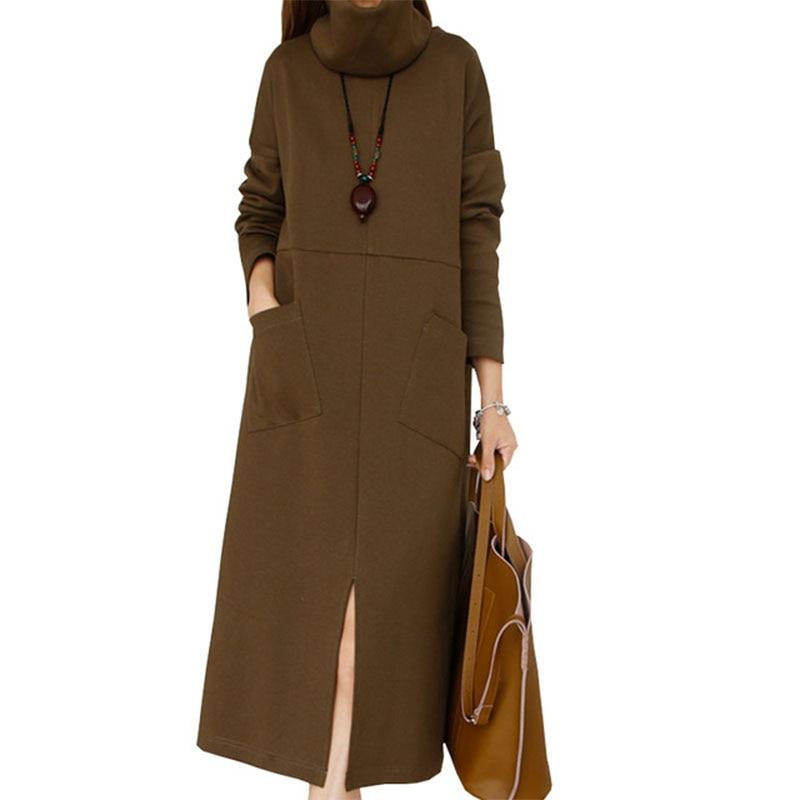 2018 new Plus size Spring autumn Knitted Women Dress vestidos Long High collar Detachable Split The Female sweater Dresses LJ302