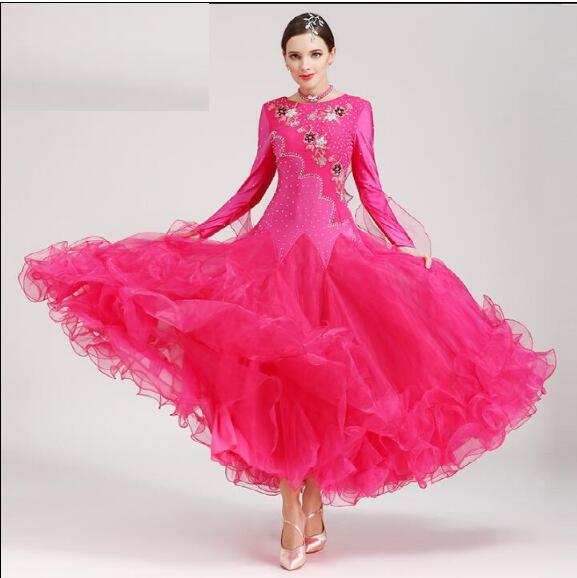 5 Color Fashion Red Modern dance costume Long sleeve Ballroom Dancing Dress Tango Dress