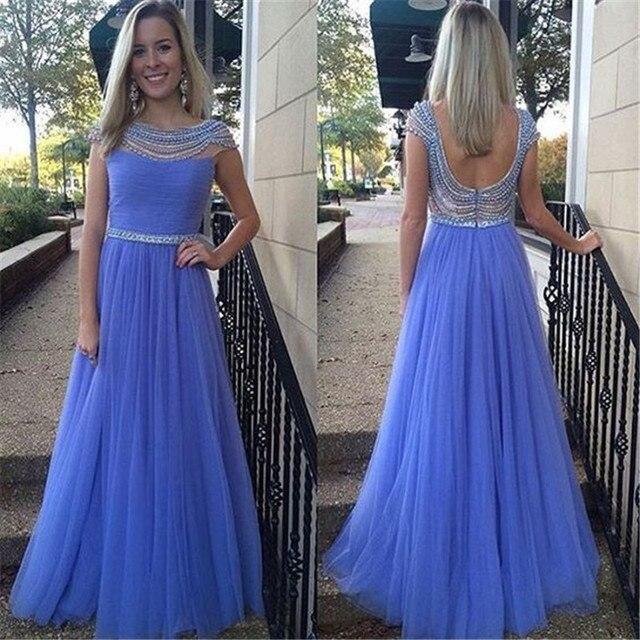 Einzigartige Perlen Strass Perlen Lange Kleider 2016 Blaue Backless ...