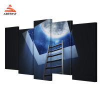 Modern Home Decor 5 Pieces Canvas Art Staircase Roof Moon Poster HD Print On Canvas For
