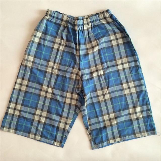 e827cde844 Herren Schlaf Shorts Männer Baumwolle Pyjama Shorts Herren Lounge Shorts  Sommer Casual Atmungsaktive Baumwolle Gaze Plaid