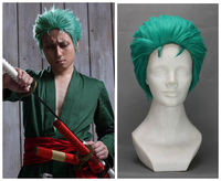 Janpanese Anime ONE PIECE Slicked back green wig Short Layer Roronoa Zoro Green Hair Comic Cosplay costumes free shipping