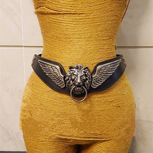 Europa moda de la personalidad exagerada cabeza de león de la correa ancha mujeres barroca de ancho faja para la cintura vestido único decoración abrigo