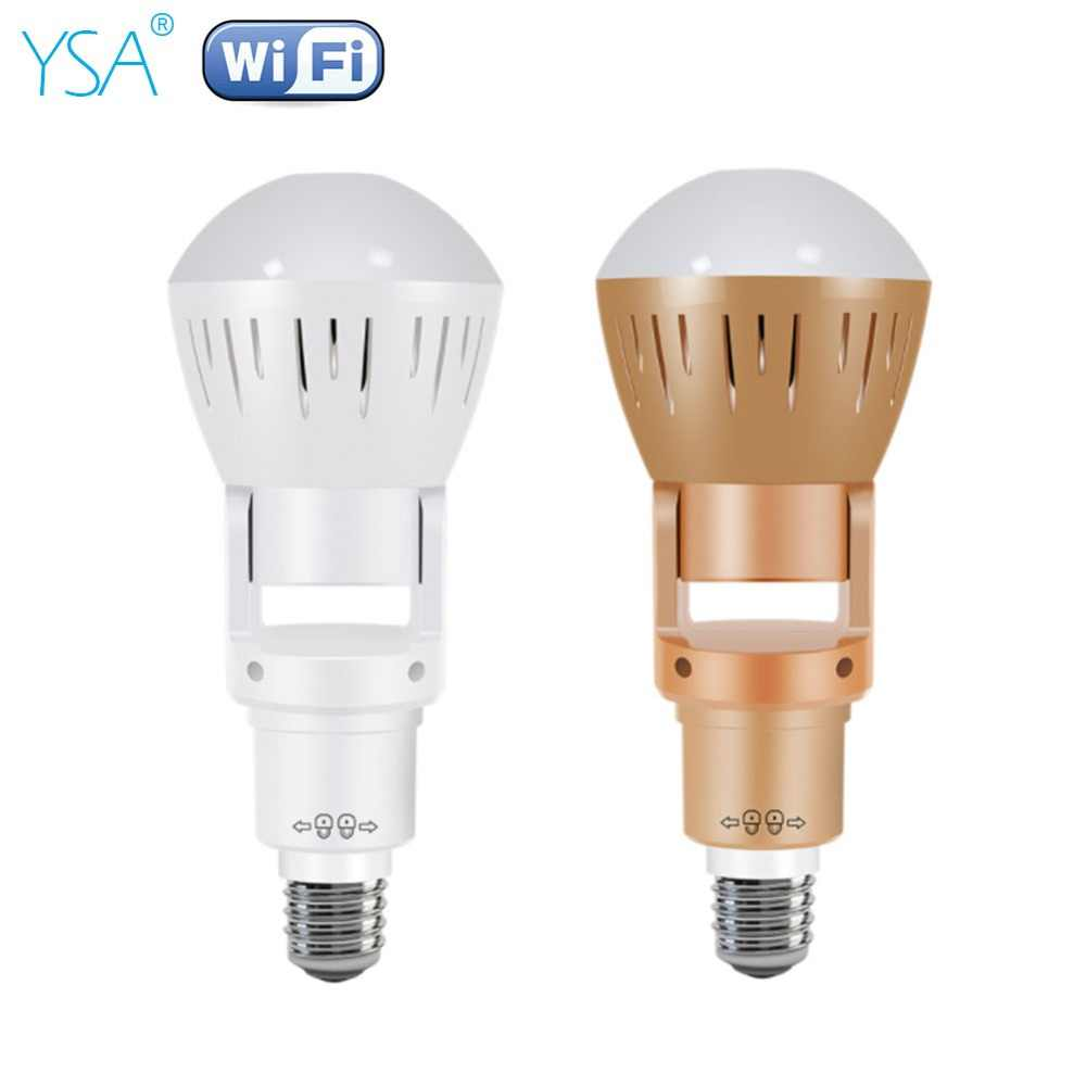 YSA 360 Degrees Fisheye Lens Panoramic IP Camera Infrared White Light Wireless 960P HD Wi-FI Mini Bulb Lamp CCTV Home Security