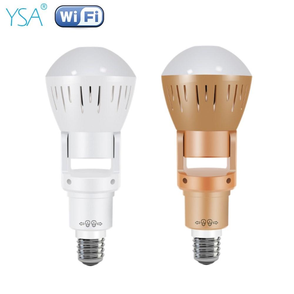 YSA 360 Degrees Fisheye Lens Panoramic IP Camera Infrared White Light Wireless 960P HD Wi-FI Mini Bulb Lamp CCTV Home Security цена