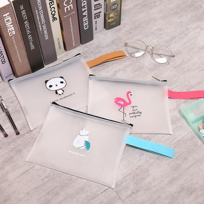 Kawaii Cute Panda Flamingo File Bag Document Waterproof Transparent Presentation Folder Organizer School Office Supplies Sl1121