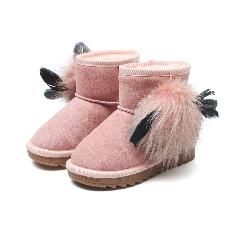 2018 Girl Shoes New Style Leather Snow Boots Chestnut Pink Black Winter Warm Comfortable Flat with Thickening Boots Freeshipping