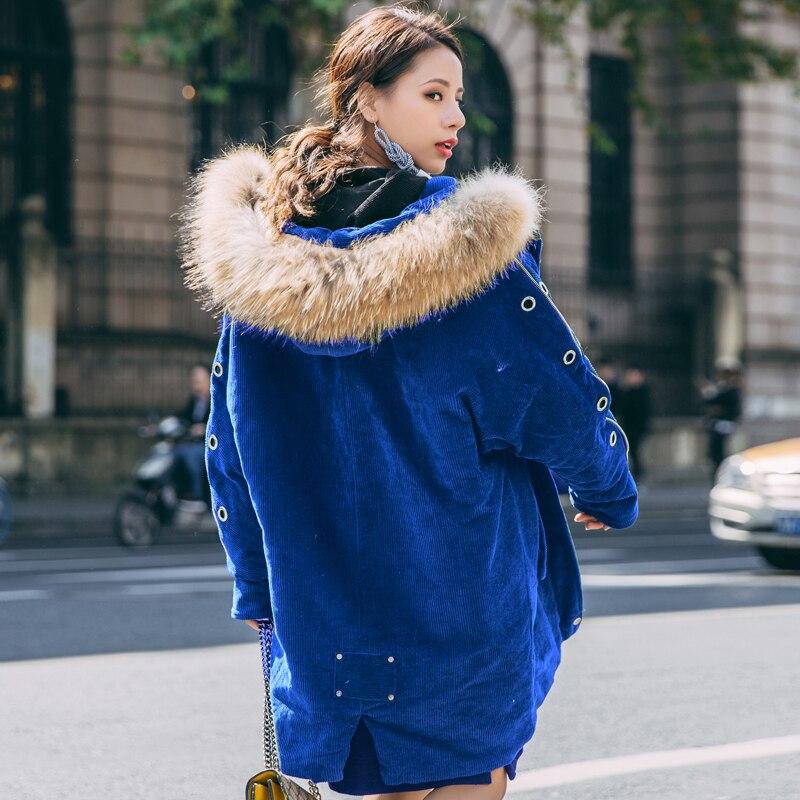 Z398 Mode Lâche Coton Col Velours Dames D'hiver Ouatée Parka Côtelé De white Blue Nouveau Fourrure En Manches Veste Femelle Capuchon À Manteau Réel Longues Grand nABwUTxPW
