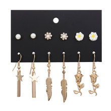 Fashion Geometric Gold Color Pearl Crystal Daisy Star Lead Rose Flowers Pendant Stud Earring Sets Handmade Female Jewelry