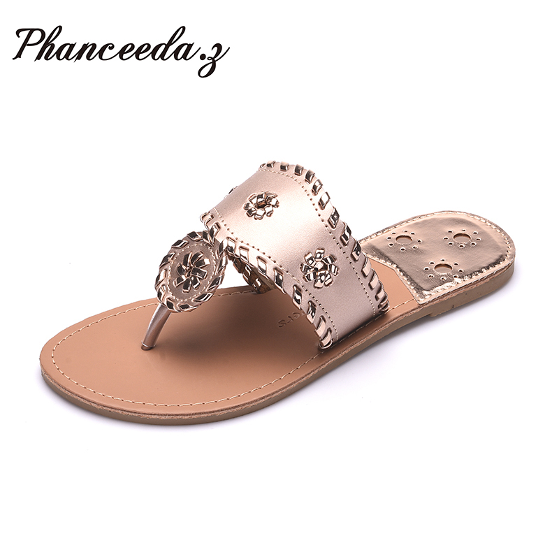 Nuevo 2018 Zapatos mujer Sandalias moda Flip Flops verano estilo bola cadenas pisos sólidos zapatillas sandalia plana envío gratuito