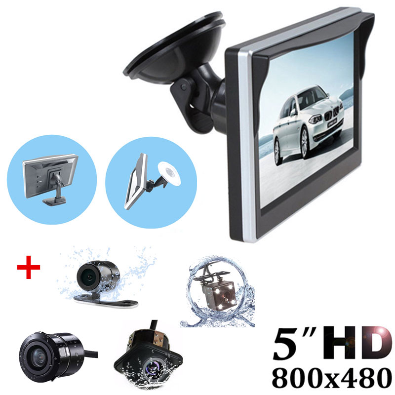GSPSCN Car Parking Assistance System 5 inch Rear View Monitor + Car Reversing Rearview Camera with Rubber Vacuum Cup Bracket