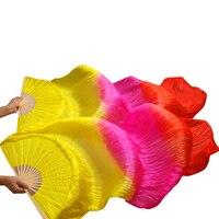 2017 הכי חדש בעבודת יד אוהדי ריקודי בטן אבזרי ריקוד צלעות במבוק משי משי טבעי 1 Pc יד שמאל + ימין יד צבע צהוב + רוז + אדום