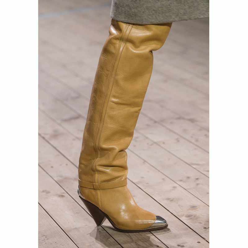 Heels Landebahnen Echtem Leder Spitz as Schuhe Show Frau Herbst As High Stiefel Eisen Neue 2018 Show Frauen Lange Mode Winter Designer qFCw7Ox