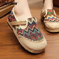 New 2017 Chinese Style Women Flats Hemp Linen Canvas Casual Women Shoes Slip On Patchwork Students Girl Footwear Sweet SNE-182