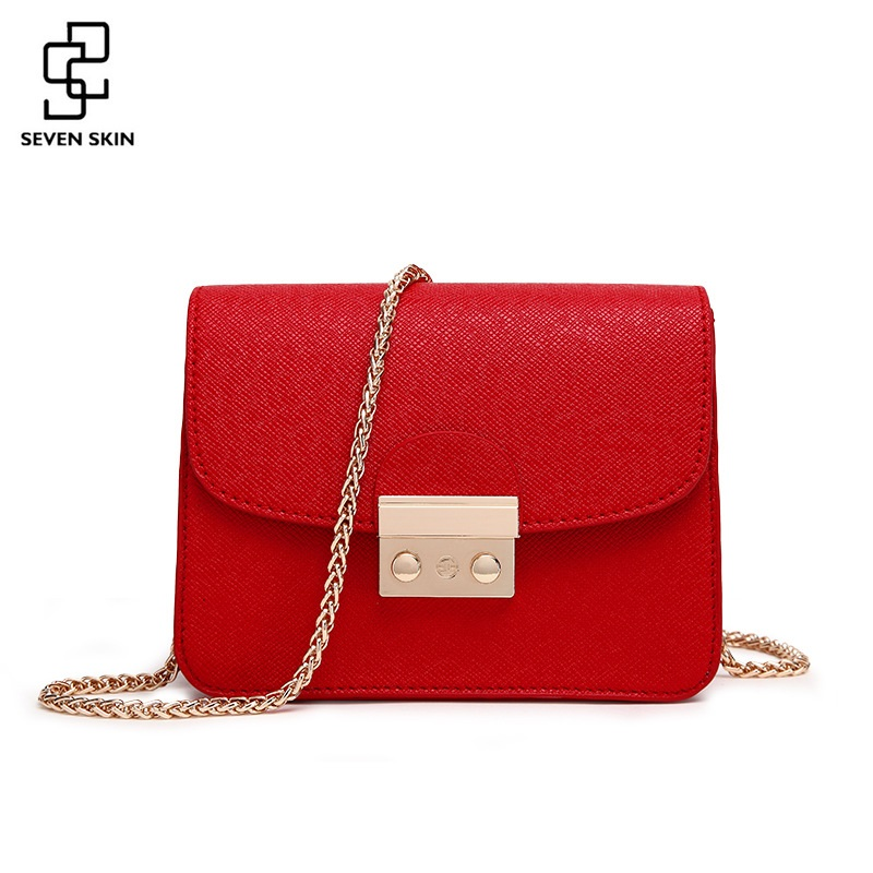 цена SEVEN SKIN Brand PU Leather Women Messenger Bags Chain Solid Crossbody Bag Women's Small Handbags Fashion Designer Lady Purses