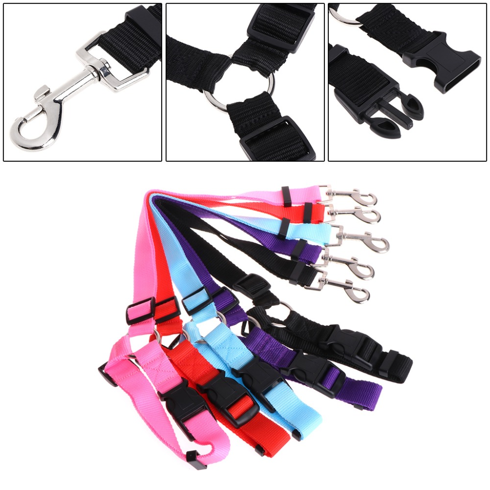 Lets Pet Pet Harness Dogs Safety Belt Nylon Strap Car Seat Travel Collar Leash Adjustable