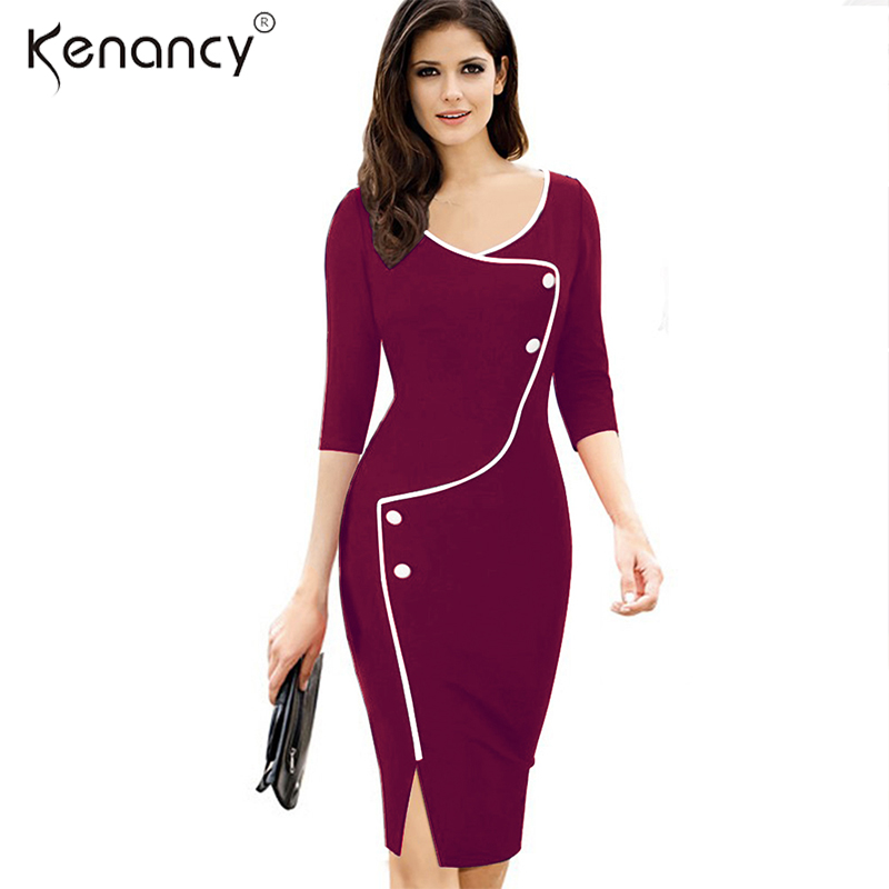 Kenancy 3XL Plus 2 Colors Size Elegant Split Irregular Piping Design  Decorative Buttons Pencil Dress Women d6919f9393a7