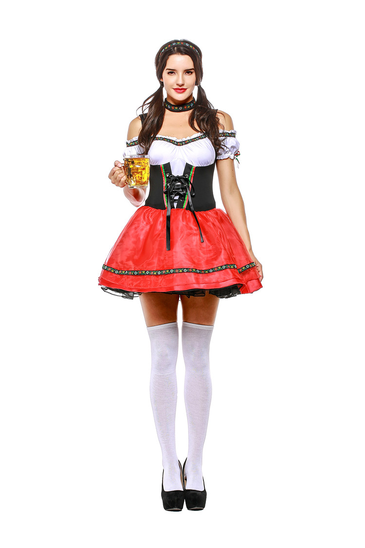 sexy Germany Bavaria Oktoberfest beer festival work clothes Costume Halloween Carnival Party Cosplay Fancy short dress A043