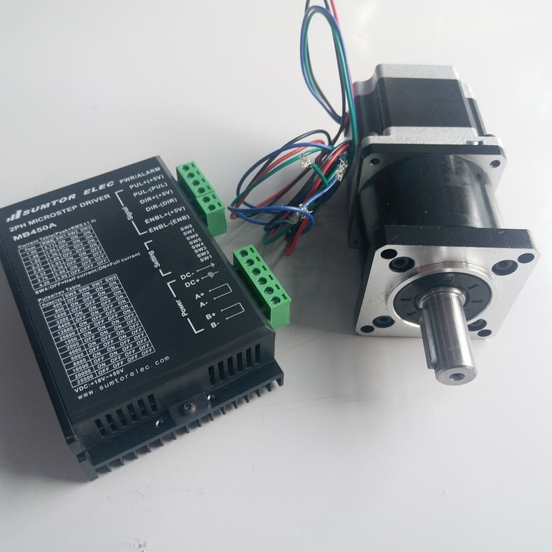 Ratio 5:1 Planetary gearbox Speed reducer with NEMA23 Motor and driver kits 57*56mm 1.1NM 160Oz-in 4 Wires for CNCRatio 5:1 Planetary gearbox Speed reducer with NEMA23 Motor and driver kits 57*56mm 1.1NM 160Oz-in 4 Wires for CNC