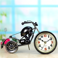 Motorcycle Clock Saat Creative Table Clock Watch Bracket clocks Reloj Duvar saati Home decoration Metal crafts Send friends gift