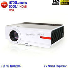 2017 New White 5700 lumens Full HD 1080P Home Theater Smart Projector Advanced Digital Video TV Projector