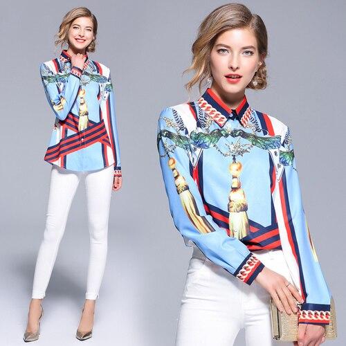 2018 Auutmn Long Sleeve Turn Down Collar Print Satin Shirts Women Office Work OL Satin Shirts Women Strip Print Blouses Tops